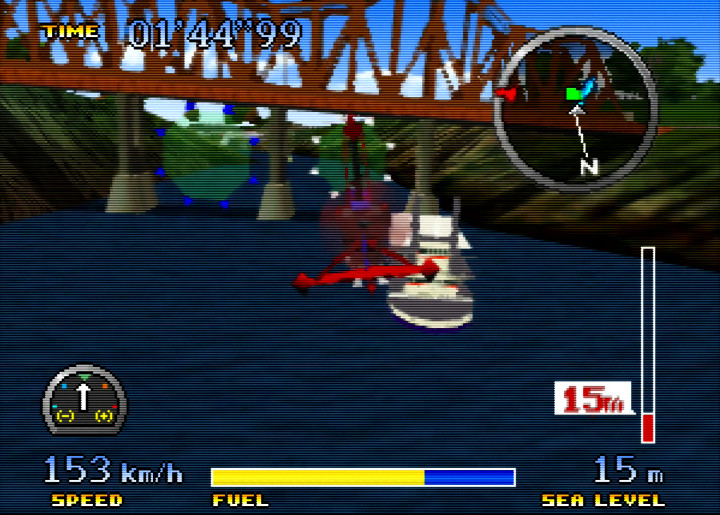 Flying under a bridge in Pilotwings 64's River Run mission