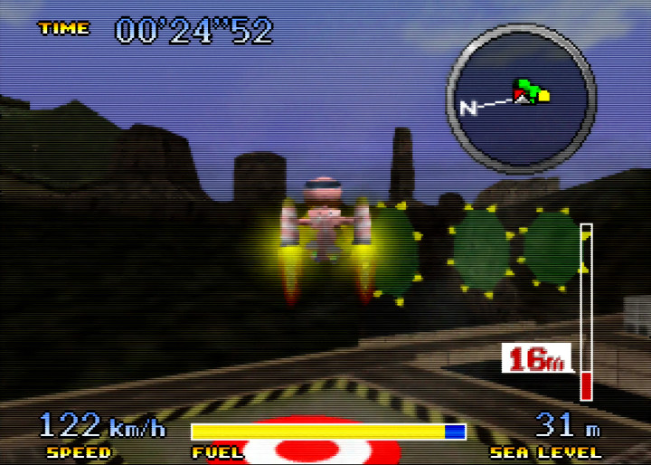 Using the Rocket Belt in N64 game Pilotwings 64