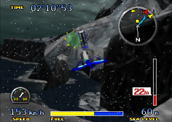 Flying the gyrocopter in the snow on Pilotwings 64's Ever-Frost Island stage