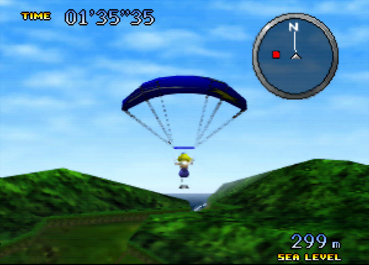 Parachuting to the target in Pilotwings 64 for N64