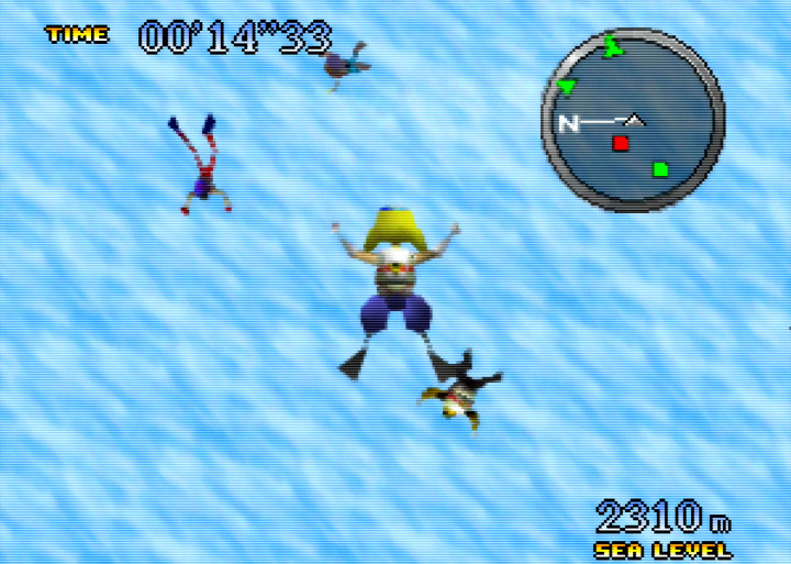 The skydiving mini-game above the clouds in Pilotwings 64