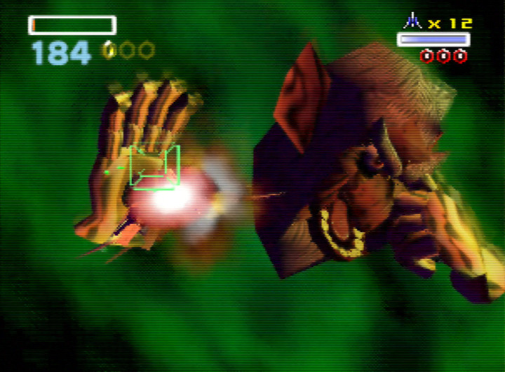 Andross has something in his eye in Star Fox 64's final boss encounter.