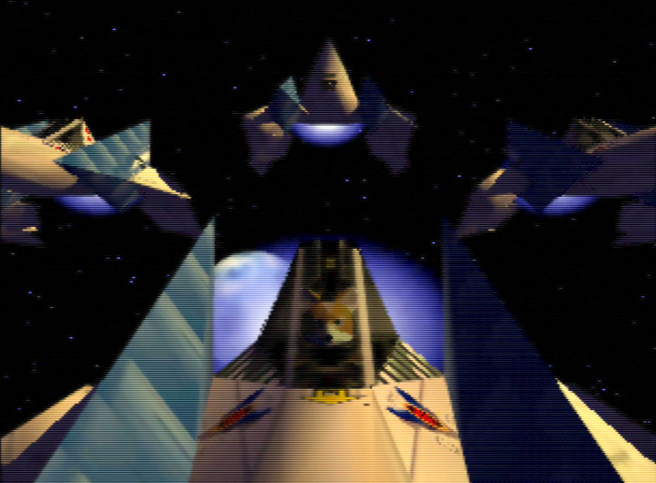 Team Star Fox above the planet Fortuna in Star Fox 64 / Lylat Wars.