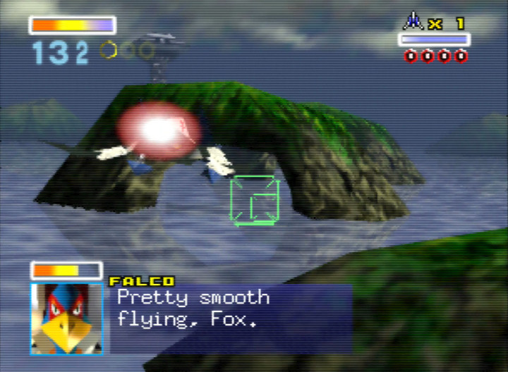 Falco compliments Fox's pretty smooth flying in Star Fox 64's Corneria mission.