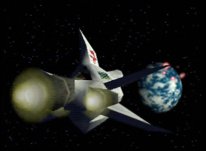 Corneria under siege from Andross in the Star Fox 64 intro cinematic