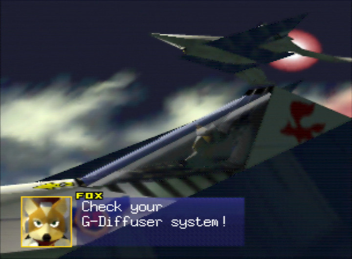Fox McCloud advises the Star Fox team to check their Arwing's G-Diffuser systems.