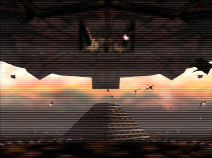 The mothership's hangars open in Star Fox 64's Katina mission.