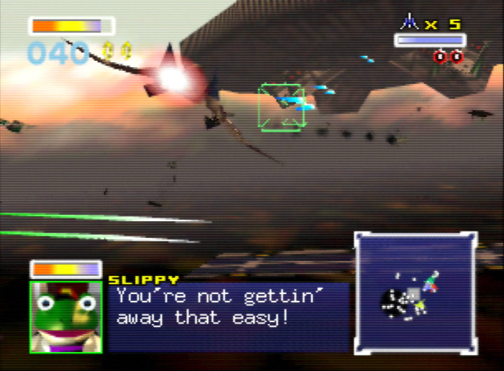Gunning down enemy fighters in Star Fox 64's Katina stage