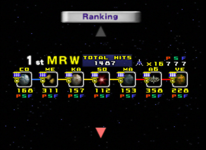 Star Fox 64 / Lylat Wars hi-score ranking screen