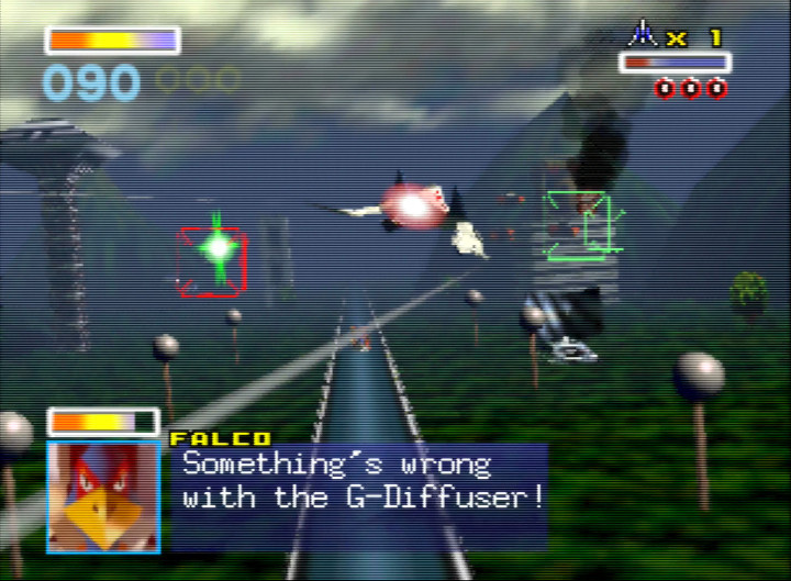 Saving Falco's hide after his G-Diffuser system fails in Star Fox 64's Corneria stage.