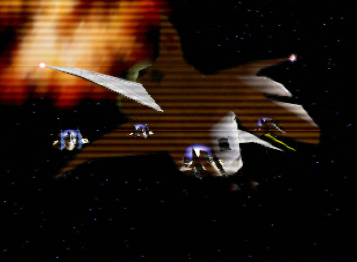 Successfully saving the Great Fox in Star Fox 64's Sector Z mission.
