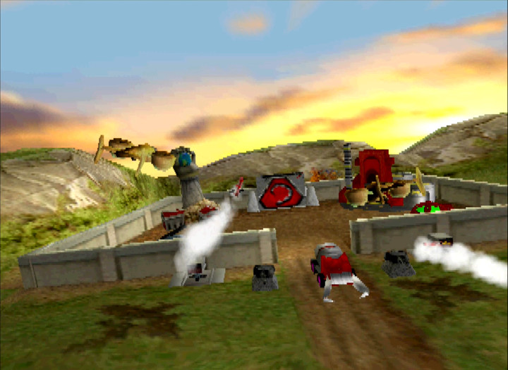 The GDI carry out an aerial attack against a Brotherhood of Nod base in Command & Conquer for N64.