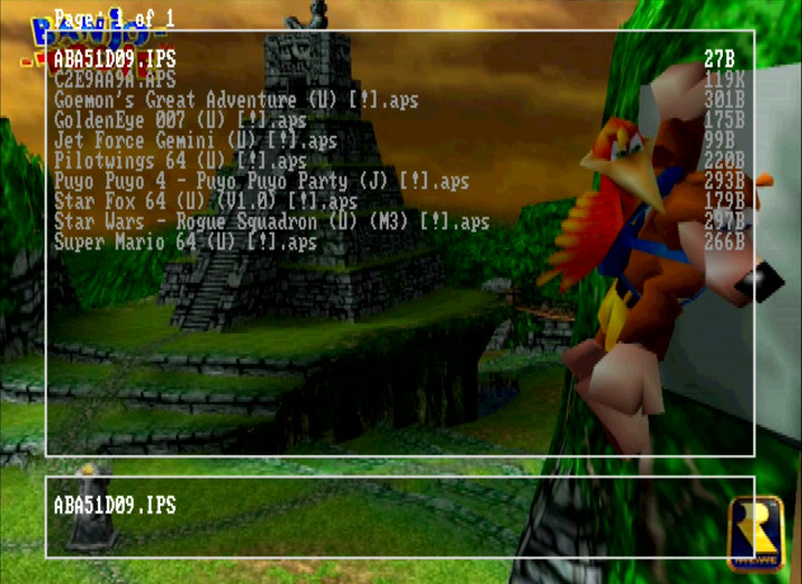 The EverDrive 64's APS/IPS patch menu that enables you to modify games.