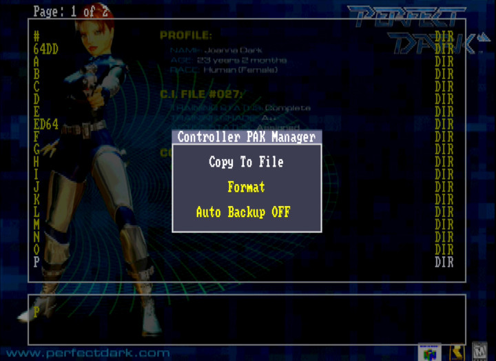 The Controller Pak menu in the EverDrive 64
