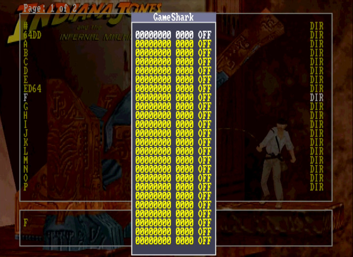 The EverDrive 64's GameShark cheats input menu