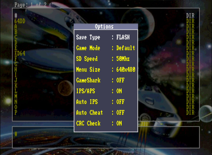Options menu for the EverDrive 64 - an N64 flashcart