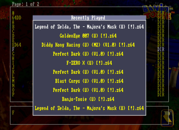 EverDrive 64's Recently Played menu showing various N64 games.