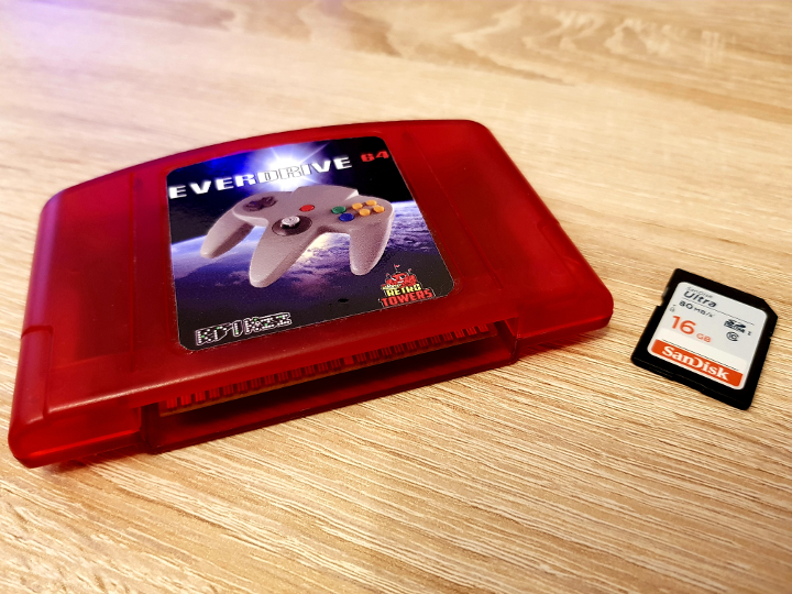Red EverDrive 64 with 16GB SD card
