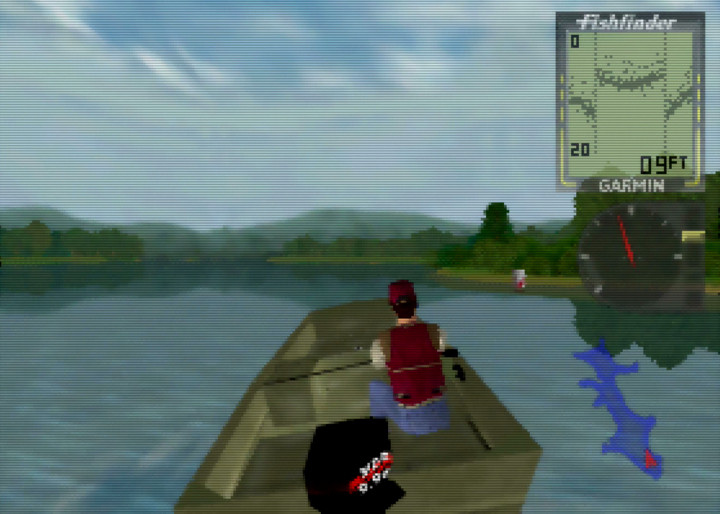 Driving the boat across the lake in search of fish in In Fisherman Bass Hunter 64.