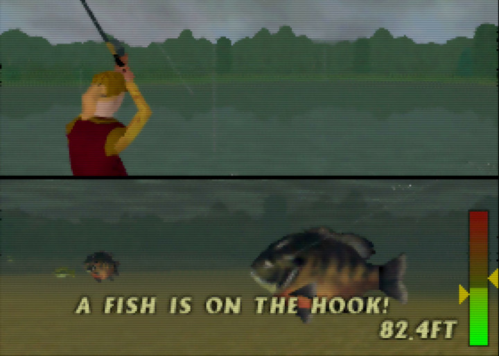 Reeling in a fish in In Fisherman Bass Hunter 64 on Nintendo 64