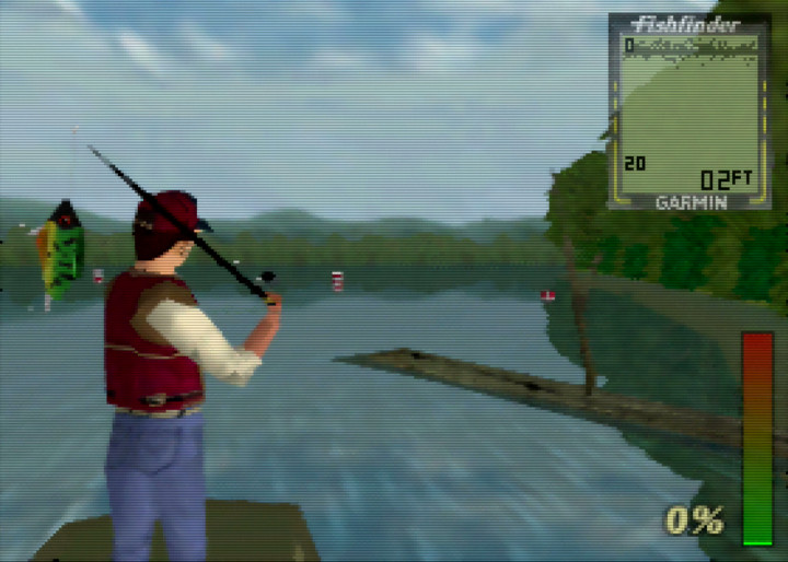 Getting ready to cast the rod overhead in In Fisherman Bass Hunter 64, one of the most relaxing N64 games.