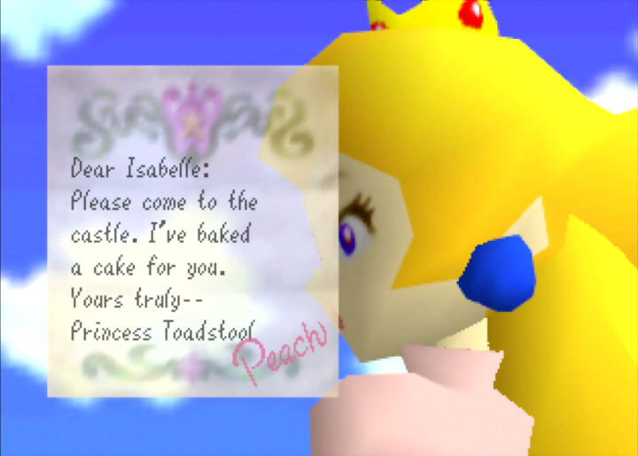 Princess Peach invites Isabelle to the castle in Isabelle 64 Super Mario 64 hack