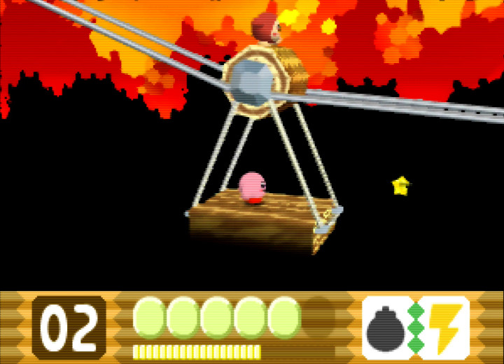 Forest elevator in Kirby 64: The Crystal Shards, one of the most relaxing N64 games.