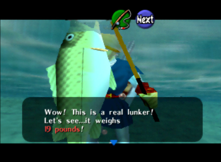Catching a real lunker in The Legend of Zelda: Ocarina of Time's fishing pond