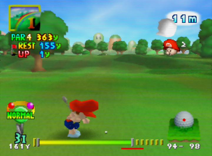 Baby Mario prepares to swing in Mario Golf 64 for N64