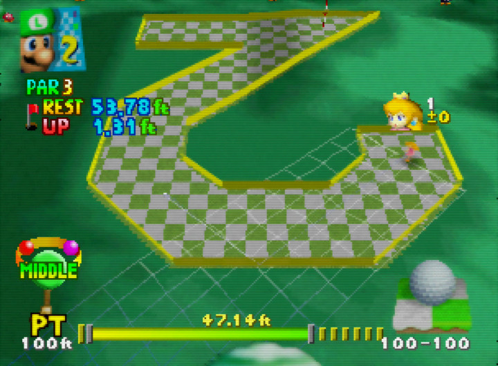 Mini Golf in Mario Golf 64, one of the most relaxing N64 games.
