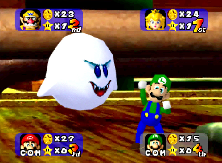 Boo steals coins for Luigi in Mario Party on N64