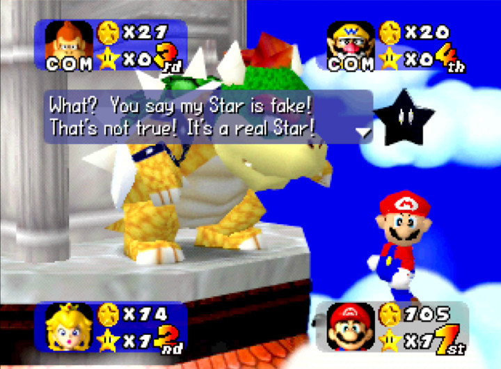 Mario receives a fake star from Bowser in Mario Party's Rainbow Castle board (N64)
