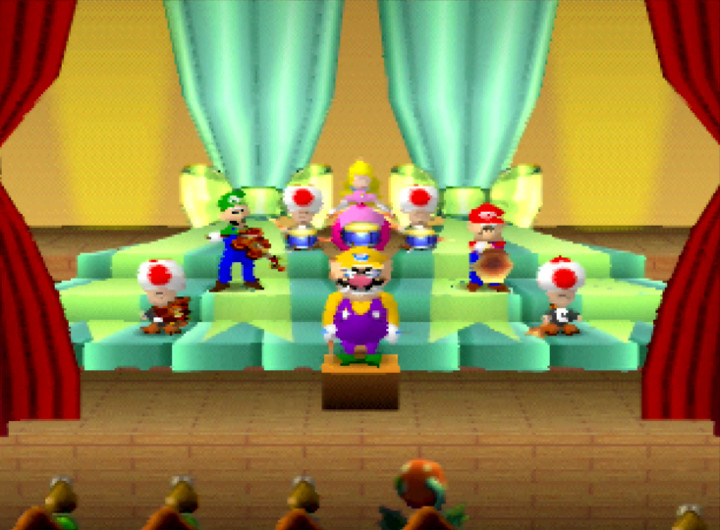 Mario Bandstand mini-game from the original Mario Party on N64