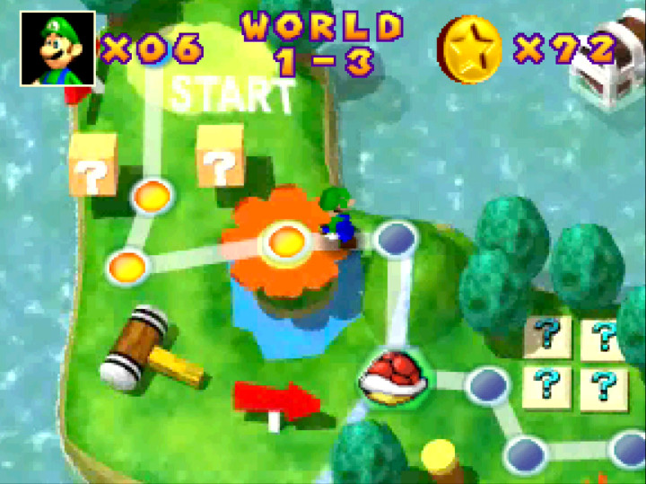 The single-player Mini-Game Island map screen in Mario Party 1 on N64.