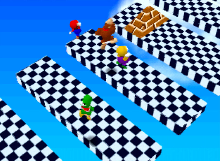 Mario Party's Platform Peril mini-game (N64)
