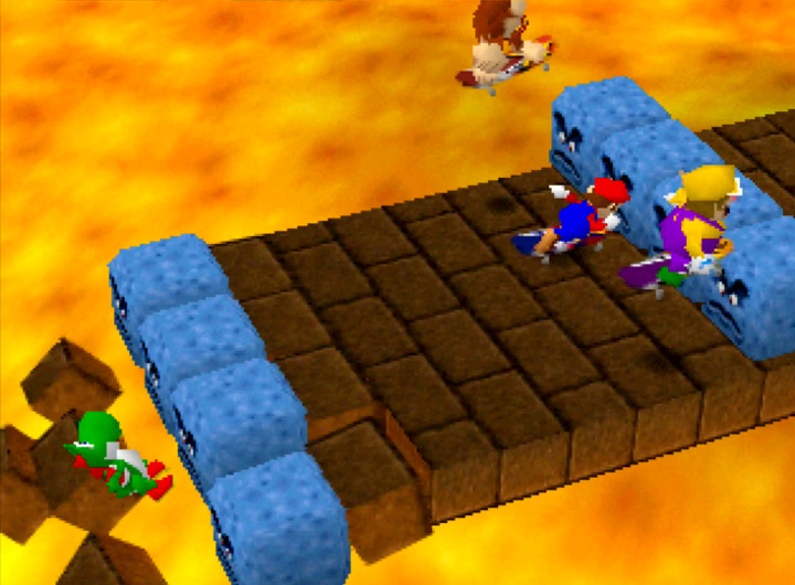 Skateboard Scamper mini-game from the first Mario Party game on N64