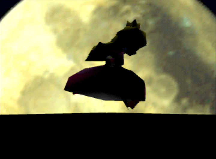 Princess Peach prepares to jump across the Teetering Towers in Mario Party N64