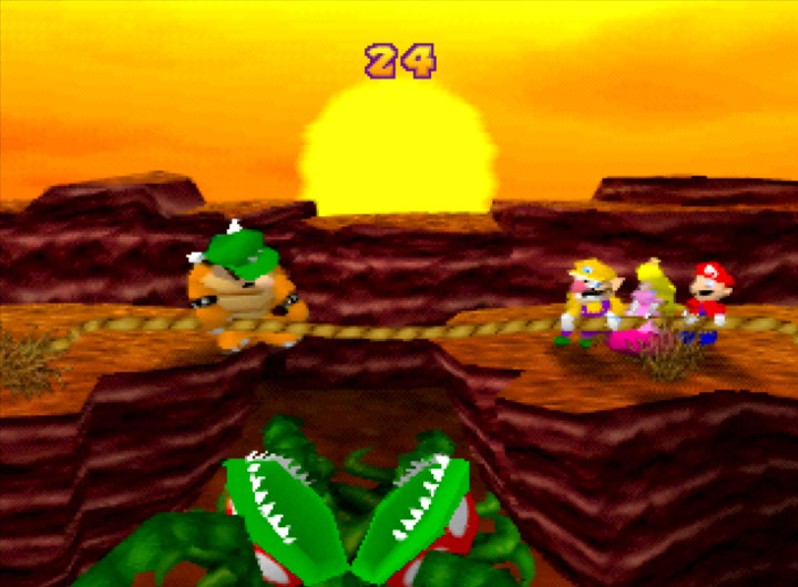 The cruel 1 vs. 3 Tug O' War mini-game from Mario Party 1 on N64