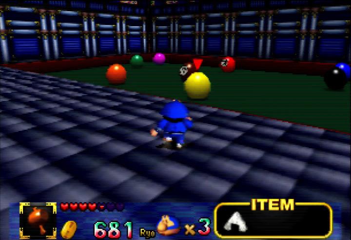 Ebisumaru plays giant billiards in Mystical Ninja Starring Goemon's Ghost Toys Castle.