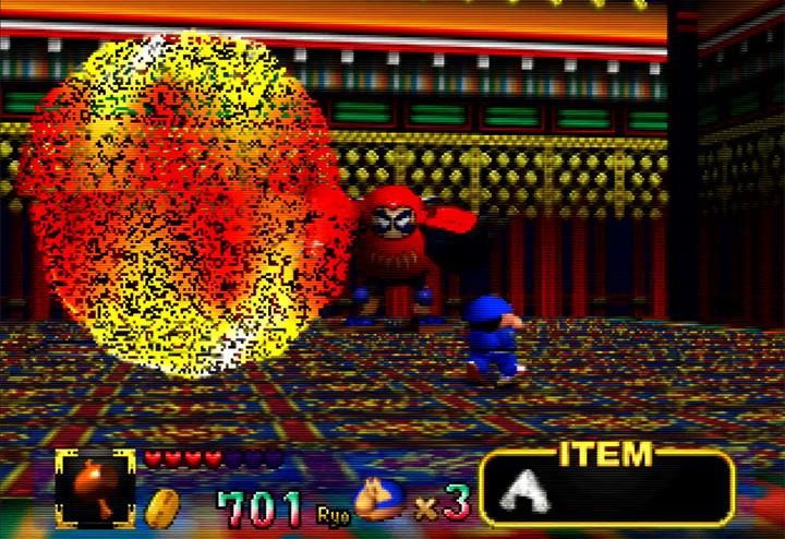 Dharmanyo boss fight in Mystical Ninja Starring Goemon for N64