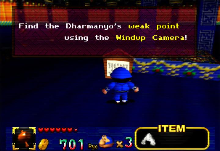 In-game hint in Mystical Ninja Starring Goemon for Nintendo 64