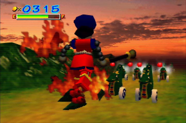Building up Impact's energy meter with the pre-battle mini-game in Mystical Ninja Starring Goemon for N64.