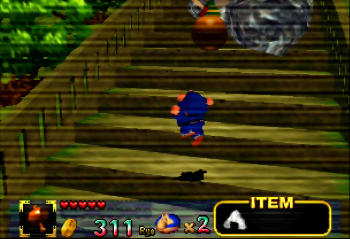 Ebisumaru makes the climb up to the top of Kompira Mountain in Mystical Ninja Starring Goemon.