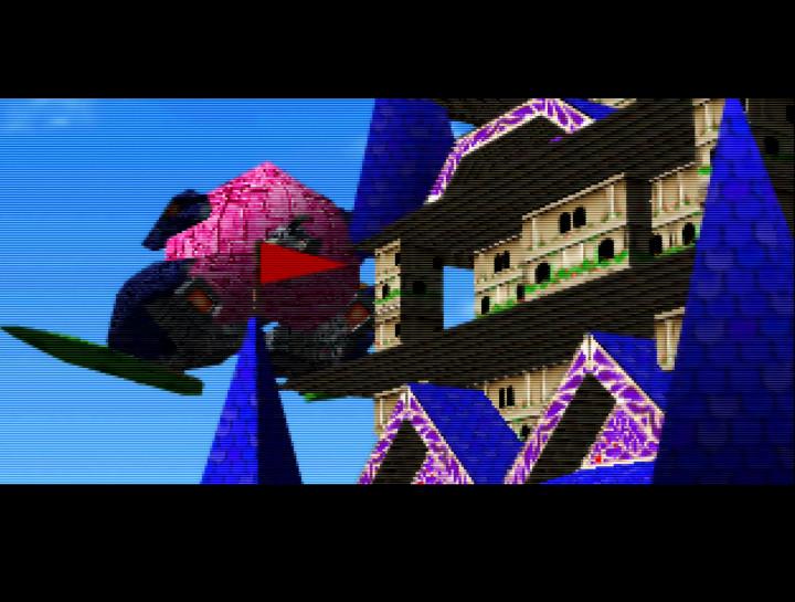 Oedo Castle under attack from the Peach Mountain Shoguns in Mystical Ninja Starring Goemon