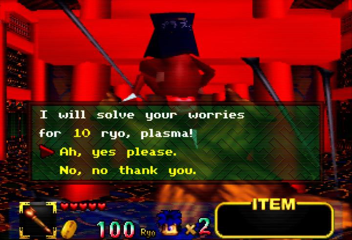 Plasma offers hints in exchange for ryo in Mystical Ninja Starring Goemon for N64.