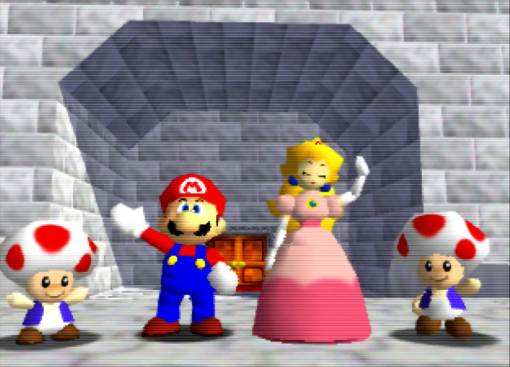 Mario and Princess Peach wave goodbye in the Super Mario 64 ending cutscene