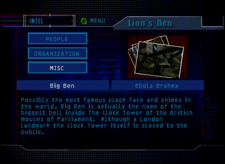 An intel screen on Big Ben in Tom Clancy's Rainbow Six for N64