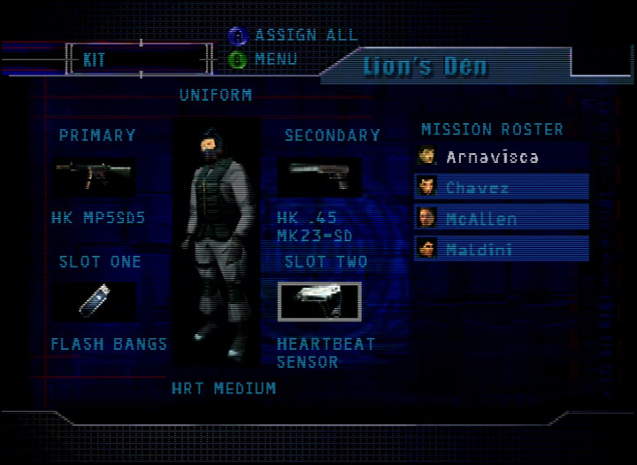 Choosing your kit in Tom Clancy's Rainbow Six on N64
