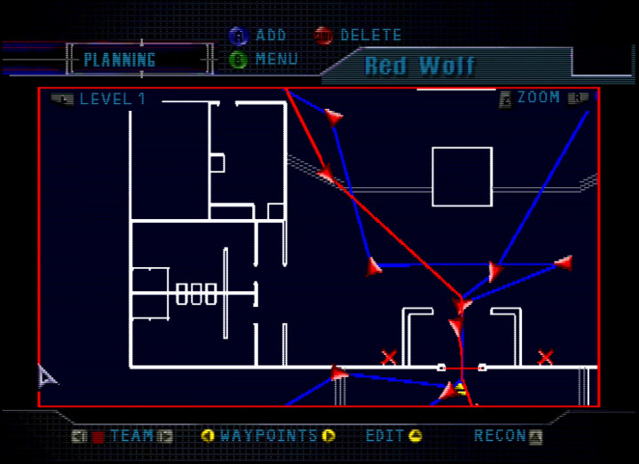 The mission planning screen in Tom Clancy's Rainbow Six on N64