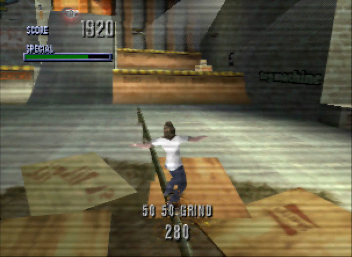 Performing a 50/50 grind in Tony Hawk's Pro Skater, one of the most relaxing N64 games.